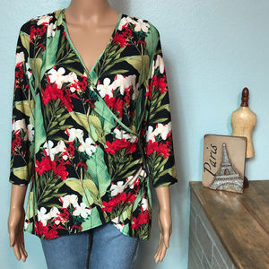 Boston Proper Hawaiian Floral Faux Wrap Shirt Top